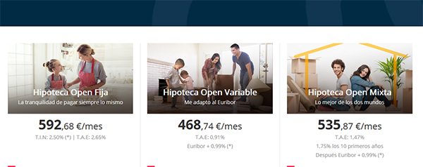 Hipoteca Open comparador